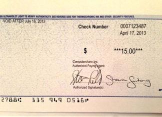 Cheque de 15 dólares