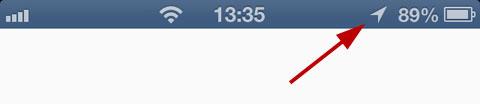 Localización activada en la barra de estatus de iOS