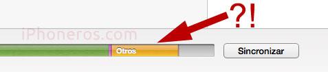 """Espacio de almacenamiento de """"Otros"""" en iTunes"""