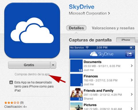 SkyDrive en iTunes