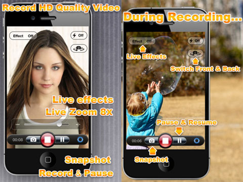 Video Zoom with Effects and Video Sharing