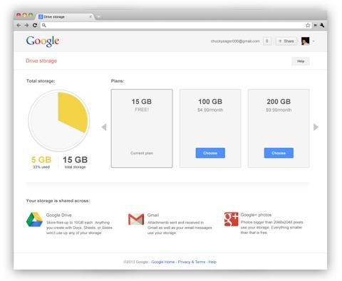 Espacio de almacenamiento en Google