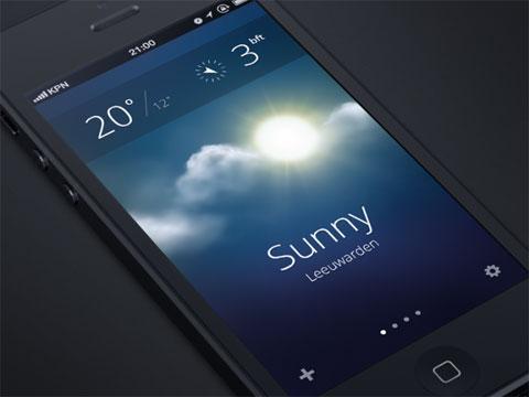Supuesto aspecto de la App del Tiempo