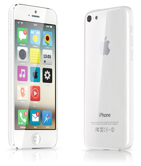 Concepto de diseño de iPhone de bajo coste con interfaz plana de iOS 7