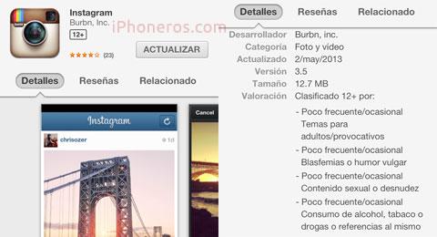 Instagram actualizado a la versión 3.5