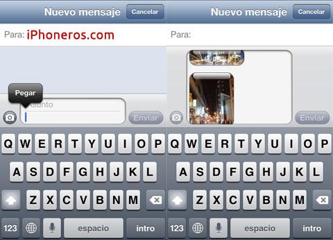 Pegando fotos en Mensajes