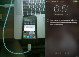 Cable no certificado conectado a iOS 7