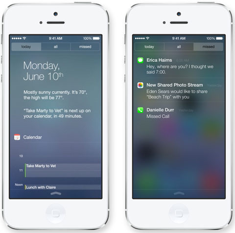 Centro de Notificaciones de iOS 7