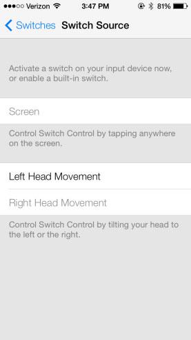 Movimientos de cabeza en los Ajustes de iOS