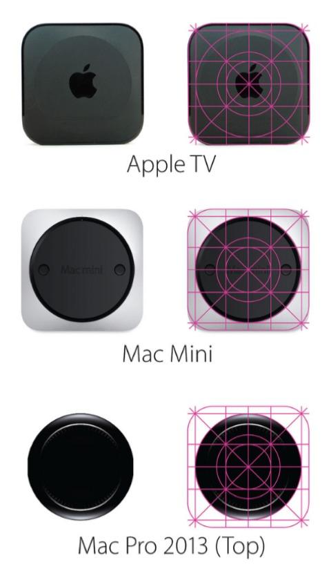 Rejilla sobre diseños de Apple