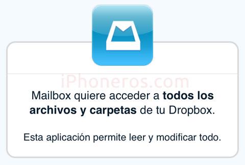 Mailbox pidiendo permiso para acceder a Dropbox