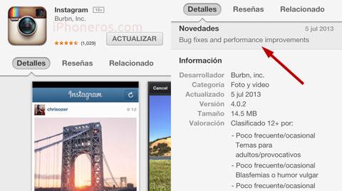 Actualización de Instagram 4.0.2