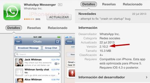Nueva versión 2.10.2 de Whatsapp