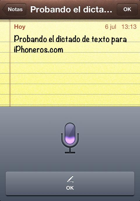 Probando el dictado de texto en iOS 6