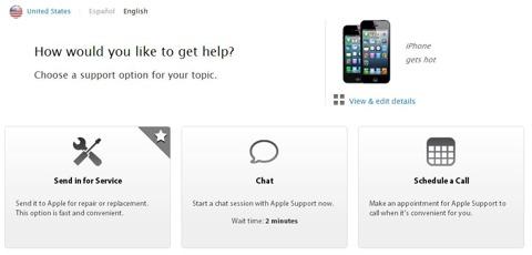 Chat en la web de Apple