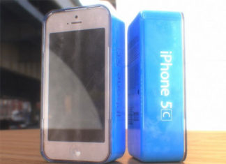 Concepto de diseño de iPhone 5C en su caja