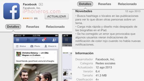 Actualización 6.4 de Facebook