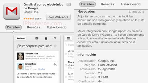 Actualización 2.4 de Gmail
