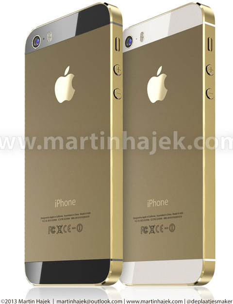 iPhone en color dorado, versiones en blanco y negro