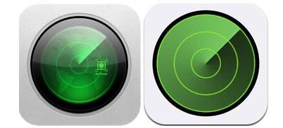 Icono anterior y nuevo de Buscar mi iPhone