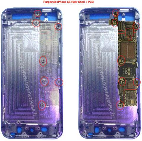 Supuesta carcasa trasera del iPhone 5S y su supuesta placa base