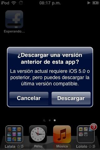 Versiones antiguas de la App