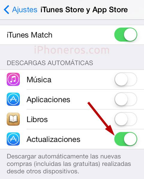 Actualizaciones automáticas de Apps en iOS 7