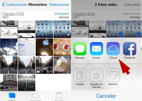 Opciones para compartir imágenes en la App de Fotos de iOS 7