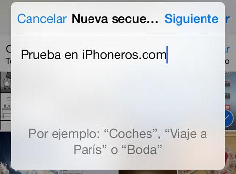 Creando una nueva secuencia en la App de Fotos de iOS 7