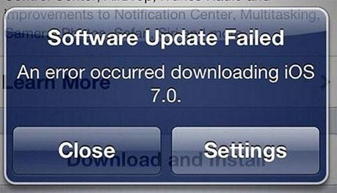 Error bajando iOS 7 en un iPhone