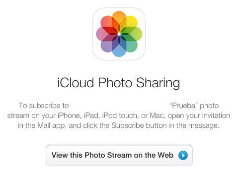 Compartir fotos en un álbum en la web
