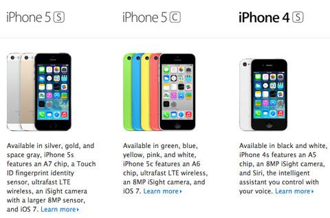 iPhone 4S en la página comparativa de Apple