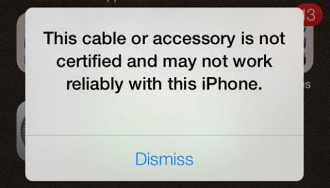 Mensaje que sale con un cable no certificado por Apple