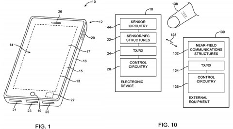 Patente botón con sensor de  huellas dactilares y NFC