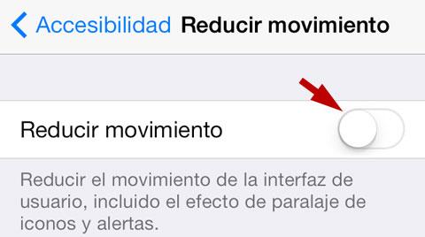Reducir movimiento