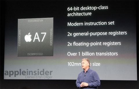 A7 en la presentación del iPhone 5S