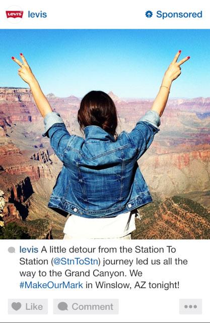 Anuncio de Levis en Instagram