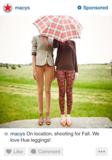 Anuncio de Macys en Instagram