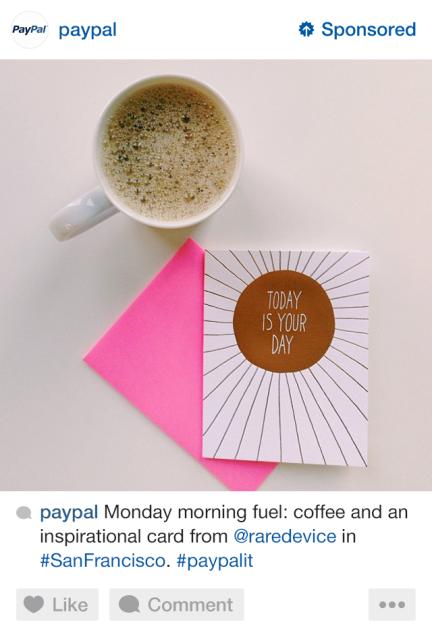 Anuncio de PayPal en Instagram