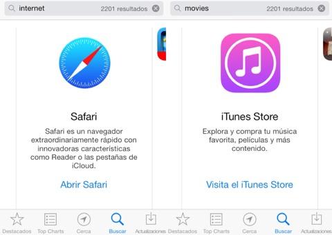 Apps de Apple en los resultados de búsqueda