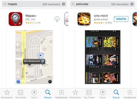 Sin Apps de Apple en los resultados de búsqueda
