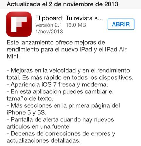 iPad Air mini en la información de actualización de Flipboard