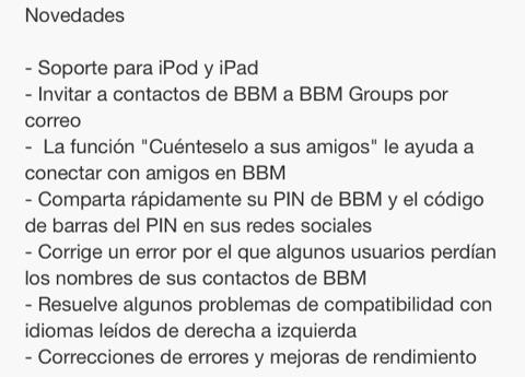 Actualización de BBM