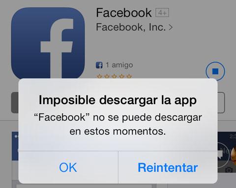 Facebook no se puede actualizar