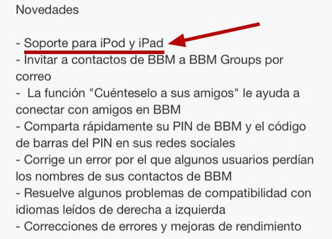BBM para iPad que no es para iPad