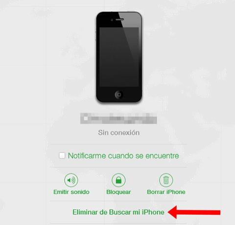 Eliminando iPhone de esa cuenta