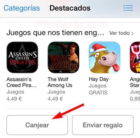 Botón de canjear código promocional en la App Store