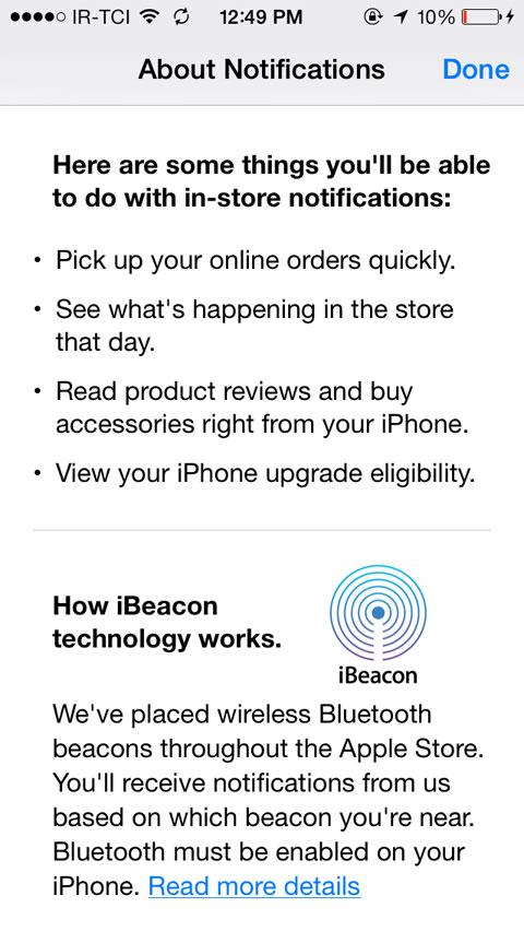 iBeacon en la App de la Apple Store