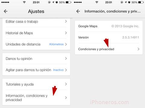 Ajustes en la App de Google Maps