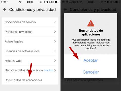 Borrar datos de la caché de Google Maps